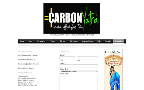 Screenshot of Contact Page weebly.com - Contact Us - CARBONyatraVoluntary Carbon News-Information-Services - captured Oct. 27, 2014