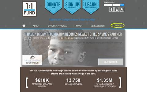 Screenshot of Home Page 1to1fund.org - 1:1 Fund - captured Oct. 6, 2014