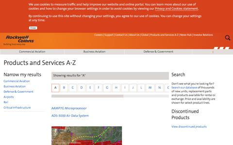 Screenshot of Products Page rockwellcollins.com - Products and Services A-Z - captured May 18, 2018