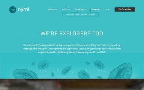Screenshot of About Page bionym.com - Nymi | Company - captured Sept. 13, 2014