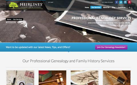Screenshot of Services Page heirlines.com - HEIRLINES | Our Services - captured Oct. 2, 2014