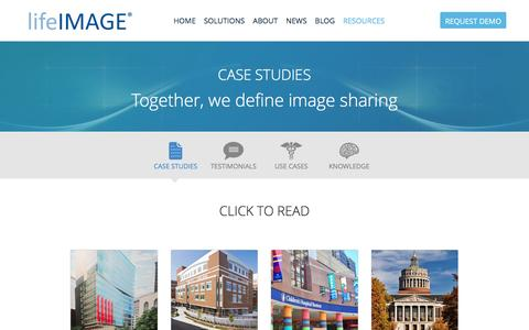 Screenshot of Case Studies Page lifeimage.com - Hear from Our Customers - lifeIMAGE - captured Dec. 4, 2015