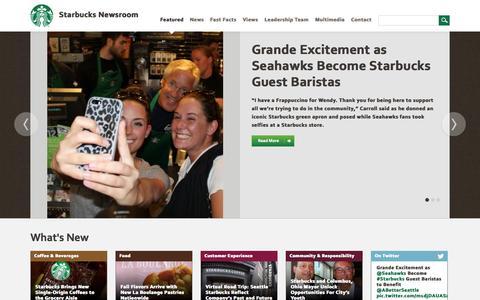 Screenshot of Press Page starbucks.com - Featured News | Starbucks Newsroom - captured Sept. 17, 2014