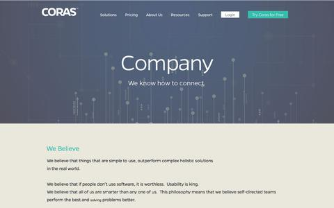 Screenshot of About Page coras.com - Company - Coras Software and Solutions - captured Feb. 1, 2018