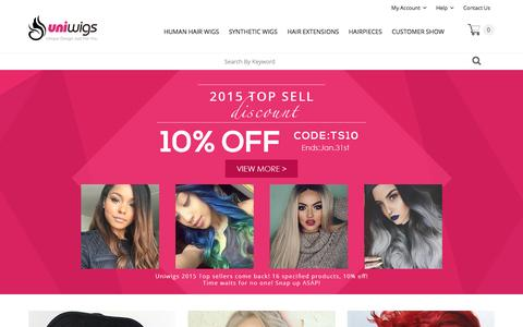 Screenshot of Home Page uniwigs.com - Wigs, Human Hair Wigs, Hair Extensions & Hairpieces | UniWigs� Official Site - captured Jan. 19, 2016