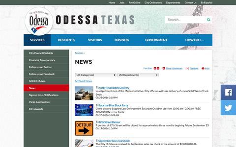 Screenshot of Press Page odessa-tx.gov - City of Odessa, Texas : News - captured Sept. 22, 2016