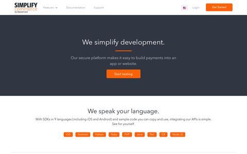 Screenshot of Developers Page simplify.com - Simplify Payments for Developers | Payment Developer Resources, API, Docs - captured Nov. 19, 2016