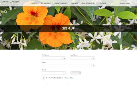 Screenshot of Signup Page marvingardens.com - Sign Up - captured Nov. 18, 2016
