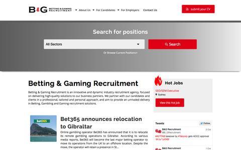 Screenshot of Home Page bgrecruitment.com - Betting & Gaming Recruitment - captured Oct. 5, 2014