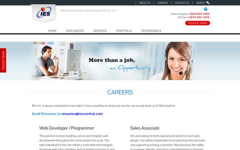 Screenshot of Jobs Page iescentral.com - IES, Inc. Bakersfield Custom Website Designer and email provider. - captured Oct. 6, 2014