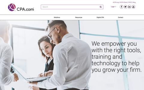 Screenshot of Home Page cpa.com - Future Ready Digital CPA Firm Solutions and Services | CPA.com-an AICPA Company - captured Feb. 20, 2018