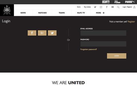 Screenshot of Login Page nufc.co.uk - NUFC - Official Club Website - captured June 24, 2017