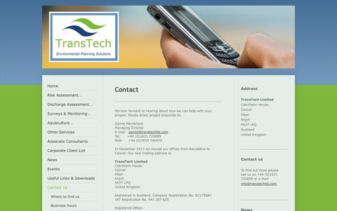 Screenshot of Contact Page transtechltd.com - TransTech - Contact Us - captured Oct. 1, 2014
