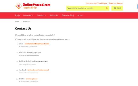Screenshot of Contact Page onlineprasad.com - Contact Us – OnlinePrasad.com - captured July 4, 2016