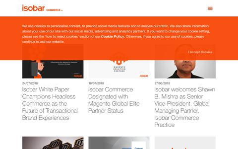 Screenshot of Press Page isobar.com - Isobar Commerce News & Insights - Our Latest Updates - captured Sept. 23, 2018