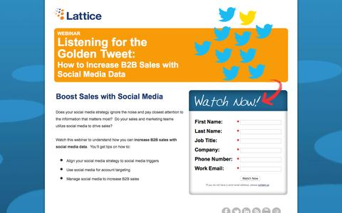 Screenshot of Landing Page lattice-engines.com - Listening for the Golden Tweet: How to Increase B2B Sales with Social Media Data - captured Dec. 15, 2015