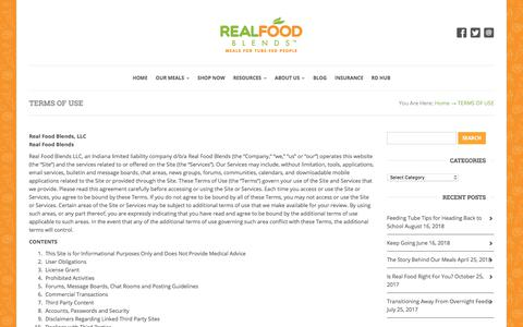 Screenshot of Terms Page realfoodblends.com - Terms Of Use | Real Food Blends - captured Sept. 21, 2018