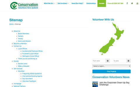 Screenshot of Site Map Page conservationvolunteers.co.nz - Sitemap - Conservation Volunteers New Zealand - captured Nov. 11, 2018