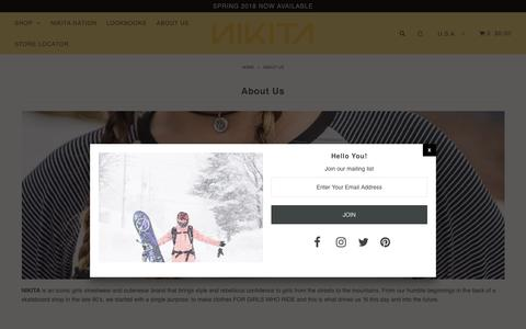 Screenshot of About Page nikitaclothing.com - About Us – Nikita Clothing - captured April 30, 2018
