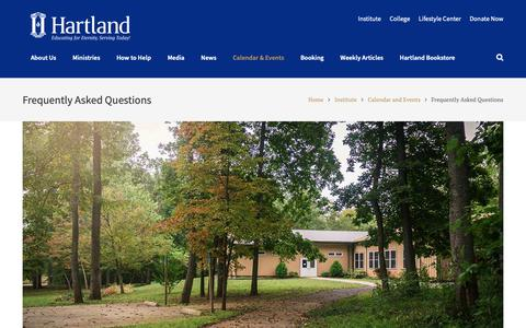 Screenshot of FAQ Page hartland.edu - Frequently Asked Questions - captured Sept. 27, 2018