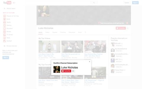 Screenshot of YouTube Page youtube.com - Luke Nicholas  - YouTube - captured Nov. 2, 2014