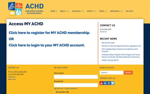 Screenshot of Signup Page achd.org - Access MY ACHD | ACHD - captured Nov. 2, 2014