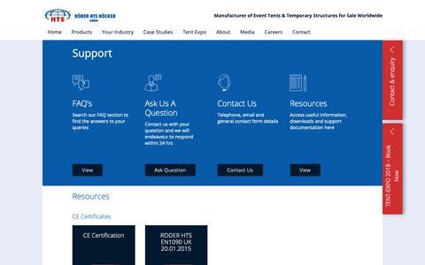 Screenshot of Support Page roderhts.com - Support | RÖDER HTS HÖCKER - captured Oct. 19, 2018