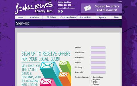 Screenshot of Signup Page jongleurs.com - Sign-Up | Jongleurs - captured Sept. 19, 2014