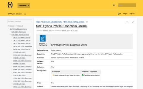 SAP Hybris Profile Essentials Online - SAP Hybris Education - hybris Wiki