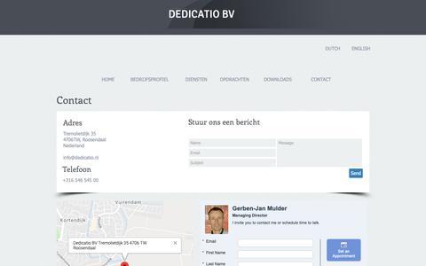 Screenshot of Contact Page dedicatio.nl - Contact - captured Oct. 8, 2018