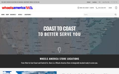 Screenshot of Contact Page Locations Page wheelsamerica.com - Wheels America Store Locations Repair and Warehouse Open to Public - captured Oct. 31, 2018