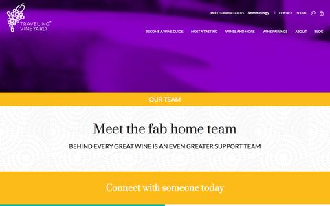 Screenshot of Team Page travelingvineyard.com - Our Team - captured Oct. 9, 2014