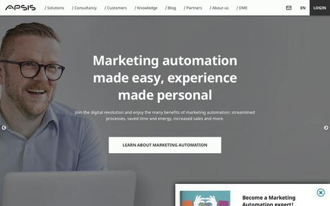 Screenshot of Home Page apsis.com - APSIS: Marketing Automation | Email Marketing | Ecommerce - captured Sept. 22, 2018