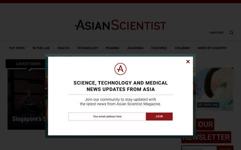 Screenshot of Home Page asianscientist.com - Asian Scientist Magazine | Science, technology and medical news updates from Asia - captured Oct. 4, 2018