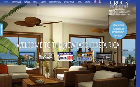 Screenshot of Home Page crocscasinoresort.com - Croc's Casino Resort - Jaco Beach, Costa Rica | CrocsCasinoResort.com - captured Sept. 30, 2014