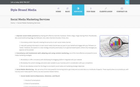 Screenshot of Services Page stylestrandmedia.com - Social Media Marketing Services   Style Strand Media - captured March 23, 2016