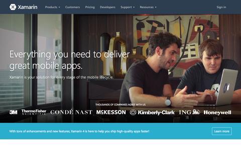 Screenshot of Home Page xamarin.com - Mobile App Development & App Creation Software - Xamarin - captured Nov. 18, 2015