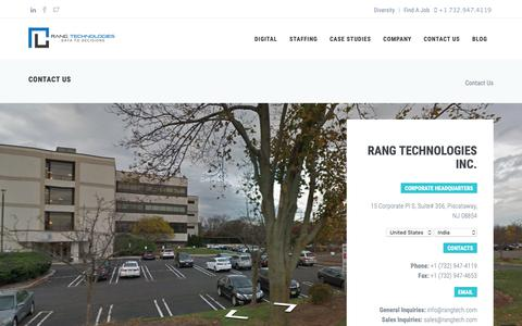 Screenshot of Contact Page rangtech.com - Contact Us | Rang Technologies - captured Oct. 20, 2018