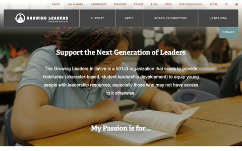 Screenshot of Support Page growingleaders.com - Support - Growing Leaders - captured Nov. 8, 2018