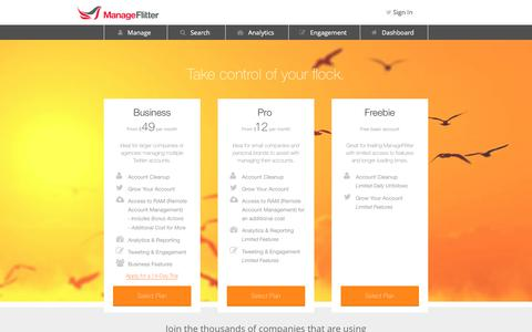 Screenshot of Pricing Page manageflitter.com - Plans & Pricing - ManageFlitter - captured June 20, 2018