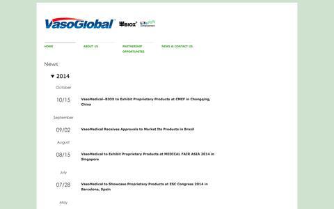 Screenshot of Press Page vasoglobal.com - Vasomedical, Inc. | A Global Leader in Non-Invasive Healthcare - captured Feb. 3, 2018