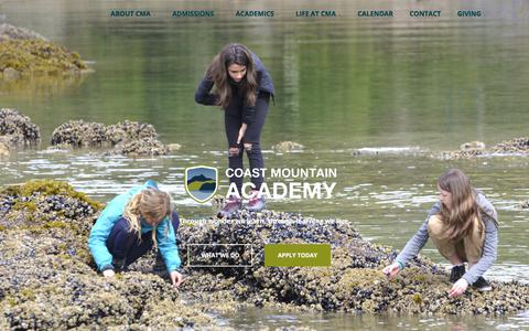 Screenshot of Home Page coastmountainacademy.ca - Coast Mountain Academy – Through wonder we learn. Through learning we live. - captured July 19, 2018