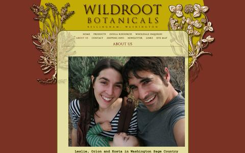 Screenshot of About Page wildrootbotanicals.com - Wildroot Botanicals, Bellingham, WA : About Us - captured Feb. 23, 2016