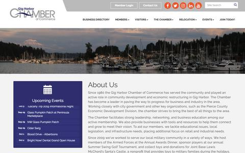Screenshot of About Page gigharborchamber.net - About Us - Gig Harbor Chamber of Commerce, WA - captured Sept. 28, 2018