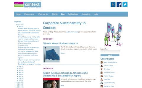 Screenshot of Blog contextsustainability.com - Blog | Context - captured Oct. 3, 2014