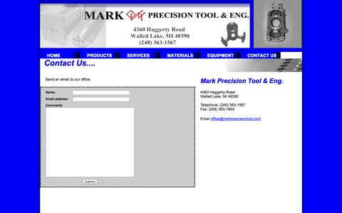 Screenshot of Contact Page markprecisiontool.com - Contact Us - captured Oct. 1, 2014