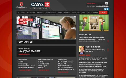 Screenshot of Contact Page oasys.com - Contact Us - captured Oct. 7, 2014