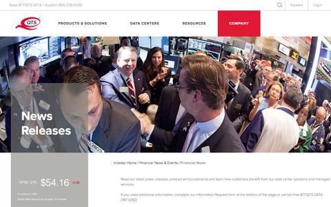 Screenshot of Press Page qtsdatacenters.com - QTS - Investors - News Releases - captured Dec. 29, 2017