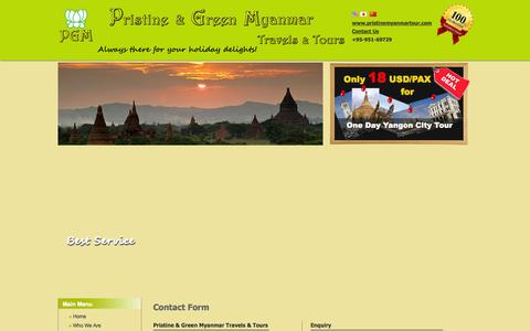 Screenshot of Contact Page pristinemyanmartour.com - Contact to PGM - captured Oct. 3, 2014