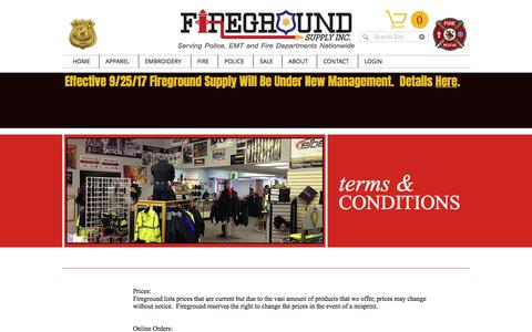 Screenshot of Terms Page firegroundsupply.com - Terms and Conditions - captured Aug. 13, 2018